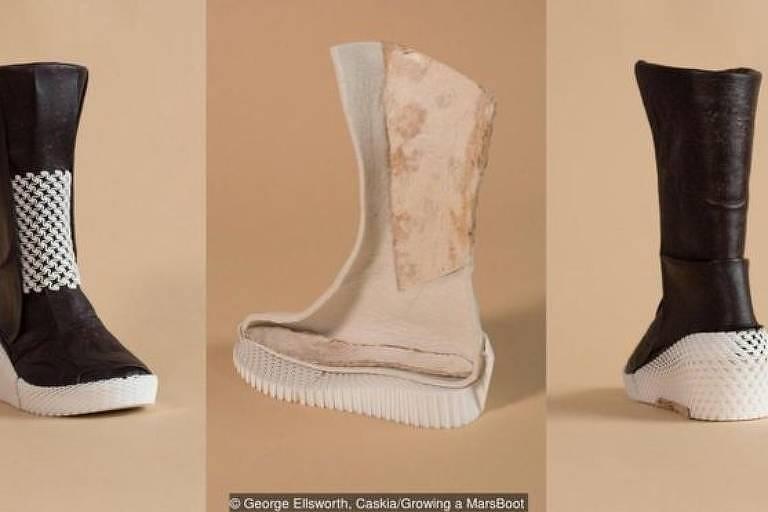 O exterior da bota é feito de micélio, enquanto o interior é um material à base de micélio com algodão e linho