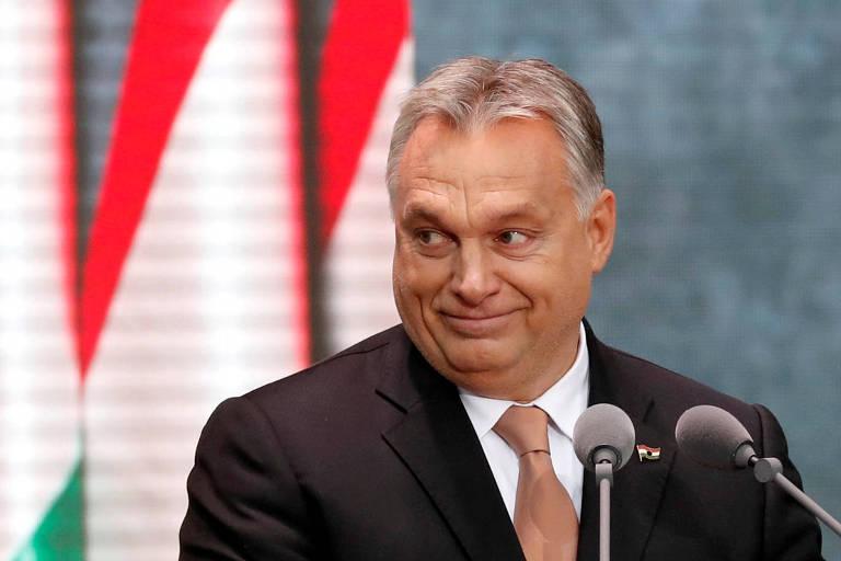 O primeiro-ministro da Hungria, Viktor Orbán, durante discurso em Budapeste