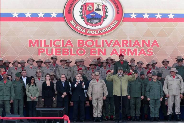 O ditador Nicolás Maduro durante o discurso a integrantes da milícia civil