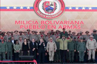 Venezuela's President Nicolas Maduro attends a military parade with the National Bolivarian Militia in Caracas