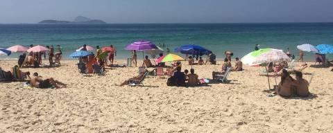 Praia do Leblon, que registrou a pior qualidade do trecho turístico da zona sul do Rio nos últimos três anos Foto: Júlia Barbon/Folhapress