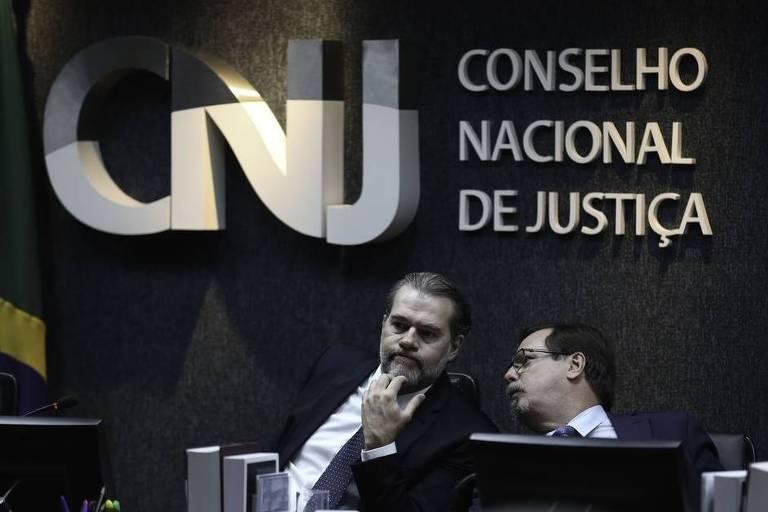 O presidente do CNJ (Conselho Nacional de Justiça) e do STF, Dias Toffoli, durante última sessão plenária do CNJ deste ano