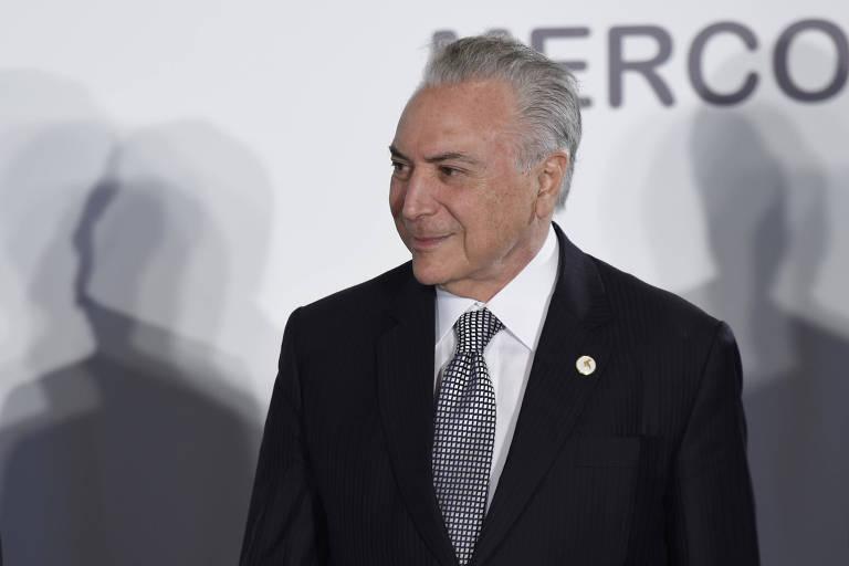 Presidente Michel Temer durante reunião do Mercosul no Uruguai