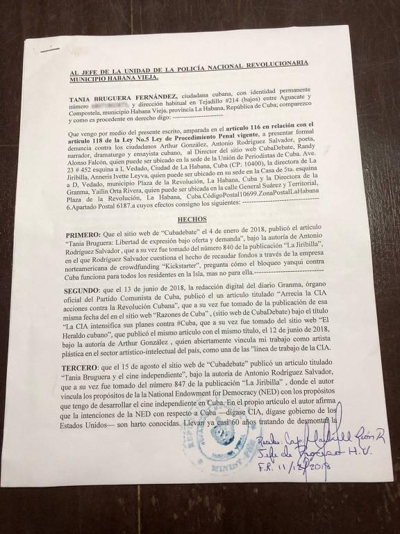 Processo de Tania Bruguera, que acusa governo de Cuba de difamação