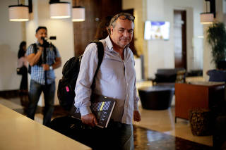 Amerigo Incalcaterra, member of the Interdisciplinary Group of Independent Experts (GIEI) leaves his hotel in Managua