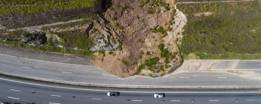 Deslizamento interdita há 4 anos trecho da rodovia dos Tamoios; estrada ainda tem encostas expostas de últimos desmoronamentos