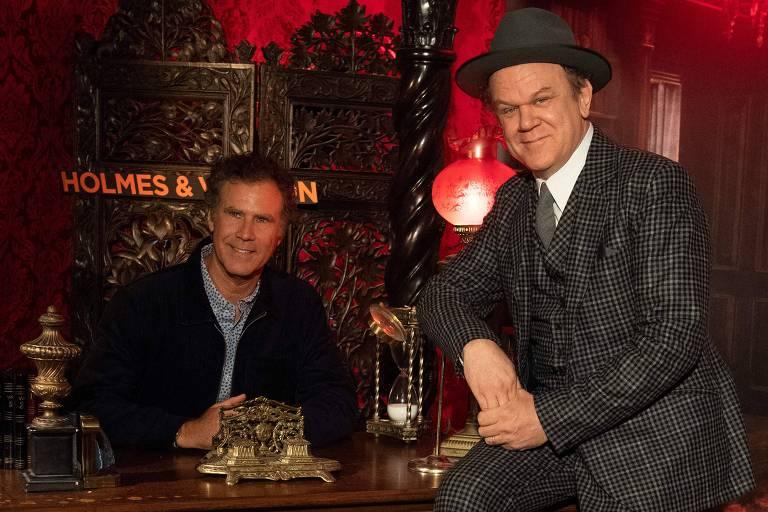 """Os atores John C. Reilly (à dir.) e Will Ferrell no lançamento de """"Holmes & Watson"""", na Califórnia"""