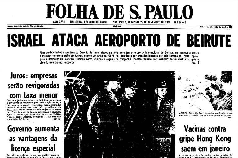 Capa da Folha do dia 29 de dezembro de 1968