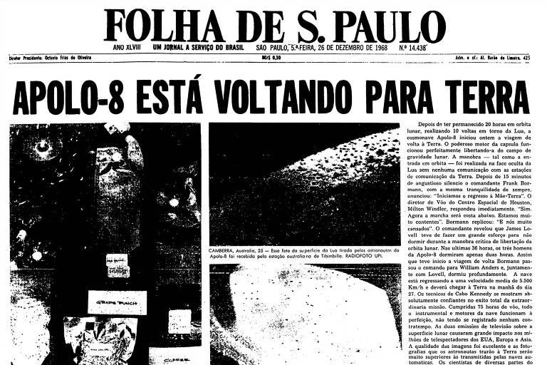 1968: Após dar dez voltas em torno da Lua, Apollo 8 já está a caminho da Terra