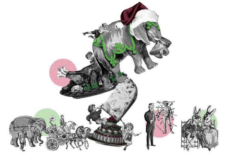Ilustração com elefantes, coelhos, pessoas, crianças e um peru de natal