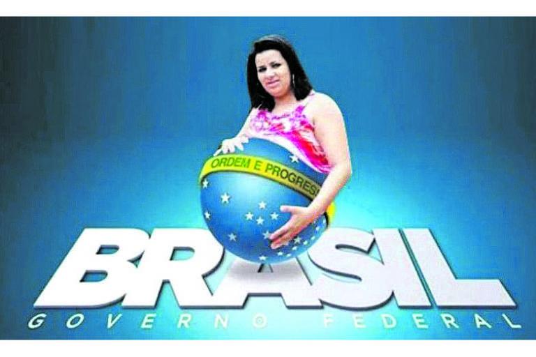 O novo logo do Governo Federal, uma criação de Elsinho Mouco selecionada por Michelzinho, ganhou uma série de versões –como esta em homenagem à grávida de Taubaté