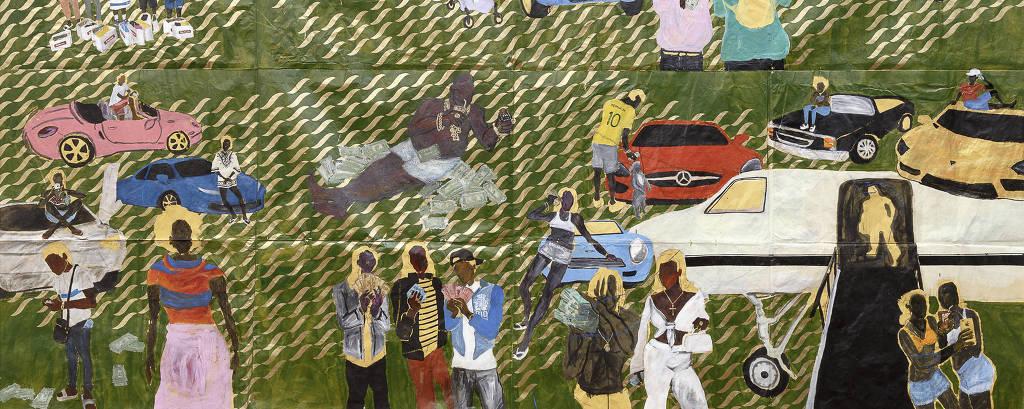 Painel colorido do artista mostra cenas de pessoas e carros