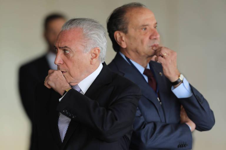 O presidente Michel Temer e o chanceler Aloysio Nunes durante evento evento em Brasília