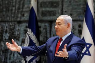 Israeli Prime Minister Benjamin Netanyahu speaks during a ceremony whereby Amir Yaron is sworn in as Bank of Israel governor, in Jerusalem