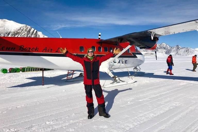 Colin O'Brady no primeiro dia de sua expedição na Antártida