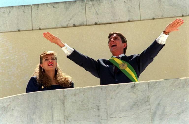 O presidente da República, Fernando Collor de Mello, ao lado da primeira-dama Rosane Malta, durante cerimônia de posse, em Brasília (DF)