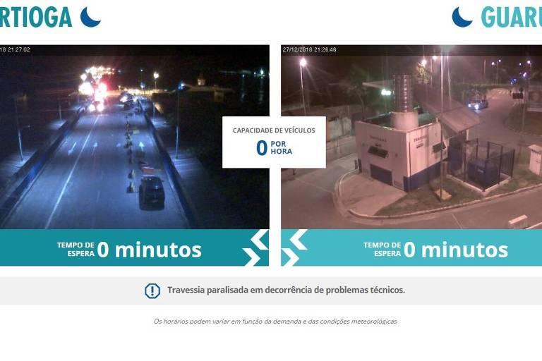 Imagem de serviço da Dersa mostra que travessia foi interrompida