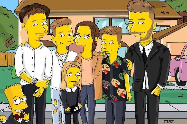 """A família Beckham inteira, incluindo os quatro filhos, caracterizados no estilo dos personagens dos """"Simpsons"""""""