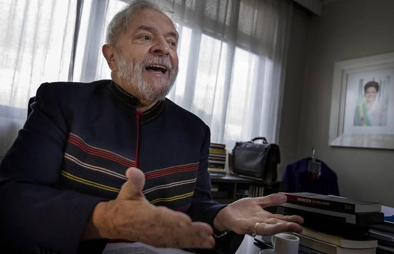O ex-presidente Lula durante entrevista exclusiva à Folha