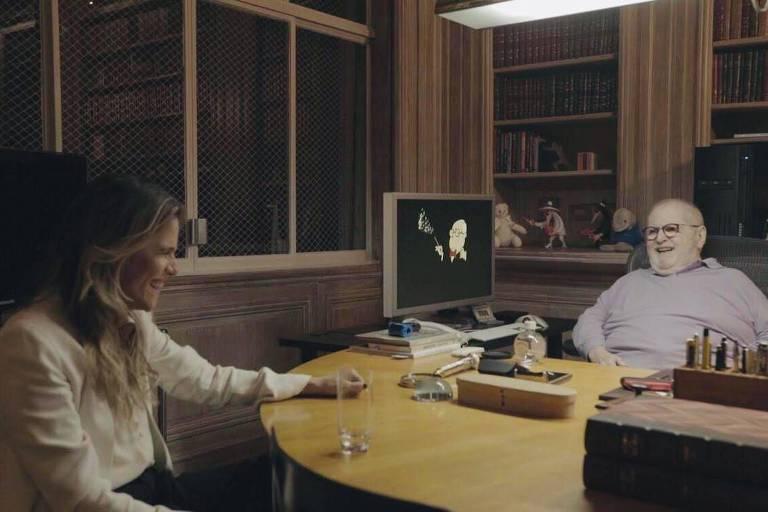 Ingrid Guimarães conversa com Jô Soares sobre o humor de bordão
