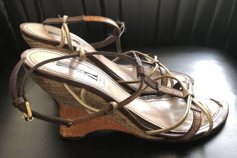 Sandálias da Louis Vuitton, que serão usadas por Virginie Fernandez