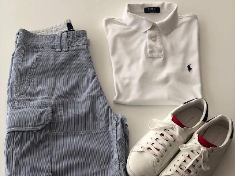 Bermuda azul-marinho, camisa polo branca da Ralph Lauren e sapatênis da Zara que Alexandre Mangabeira, copresidente da Rodobens, vai usar