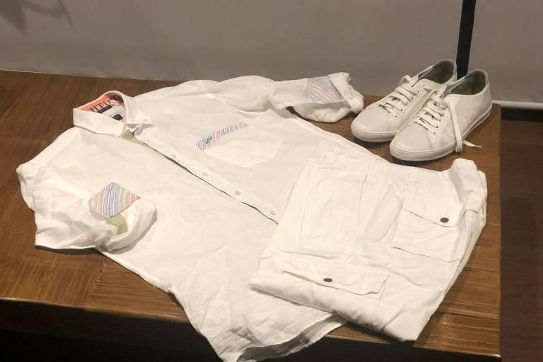 Bermuda e camiseta brancas que Carlos Santa Cruz, da Bemis, irá usar no Réveillon