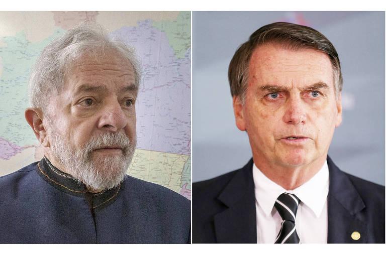 O ex-presidente Lula e o eleito Jair Bolsonaro (PSL)