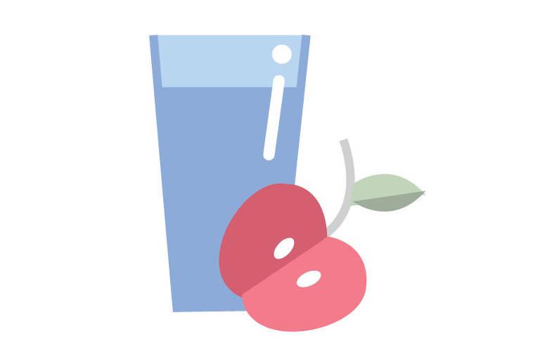 Ilustração de copo de água e maçã