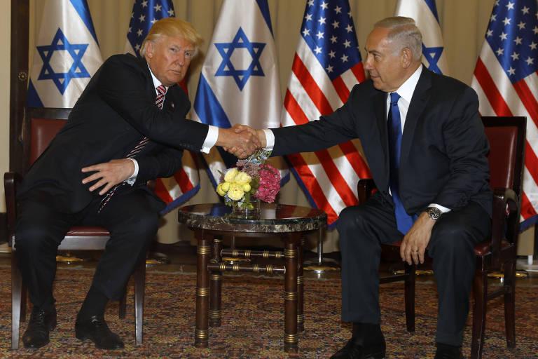 O presidente americano Donald Trump e o premiê israelense Binyamin Netanyahu durante encontro em Jerusalém
