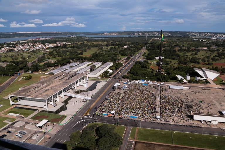 Praça dos Três Poderes vista do alto do Senado Federal, durante cerimônia de posse do presidente Jair Bolsonaro