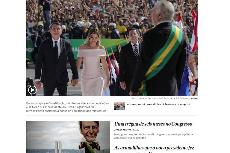 Posse de Bolsonaro na imprensa internacional