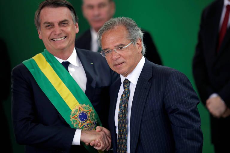 O presidente Jair Bolsonaro e o ministro da Economia, PauloGuedes, em Brasília