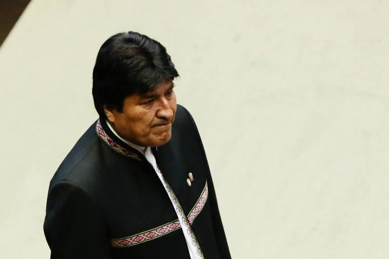 O presidente da Bolívia, Evo Morales, durante cerimônia de posse do presidente Jair Bolsonaro, no Congresso Nacional, em Brasília