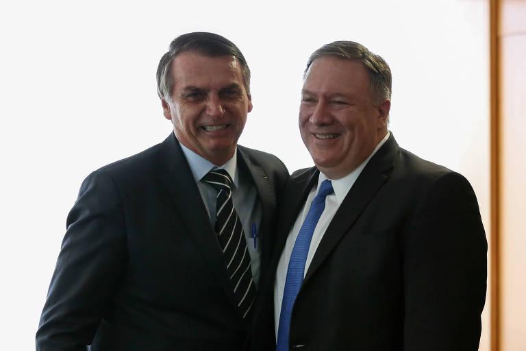 Jair Bolsonaro com o secretário de Estado dos EUA, Mike Pompeo, em Brasília no dia 2 de janeiro