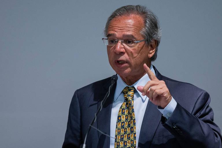 O ministro da Economia, Paulo Guedes, durante cerimônia de sua posse, em Brasília