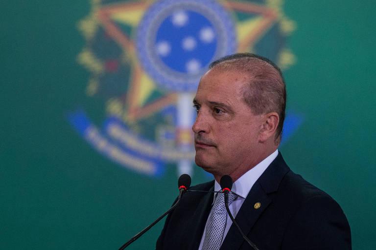 O ministro Onyx Lorenzoni (Casa Civil), durante cerimônia de transmissão de cargo dos ministros do Palácio do Planalto