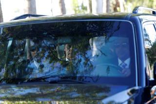 Brazil's President-elect Jair Bolsonaro leaves the Granja do Torto official residence after a meeting in Brasilia