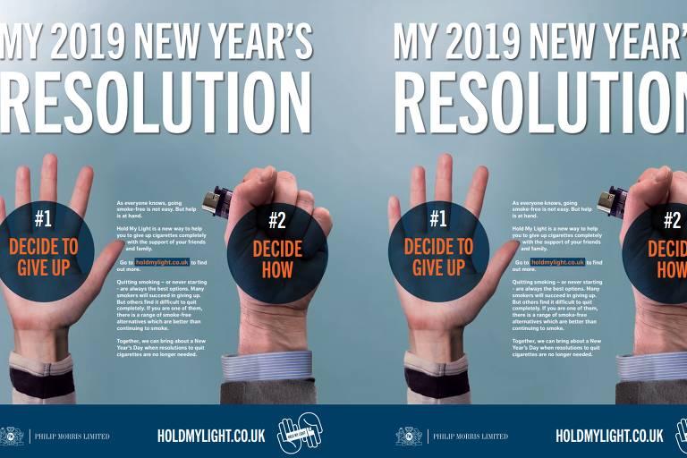 Campanha da Philip Morris com resolução de Ano-Novo para fumantes largarem o cigarro