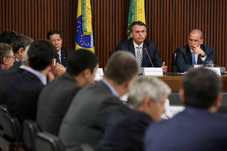 O presidente Jair Bolsonaro participa neste quinta (3) da reunião com seus ministros