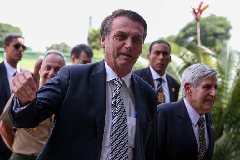 O presidente Jair Bolsonaro durante visita às instalações do GSI (Gabinete de Segurança Institucional), ao lado do Palácio do Planalto