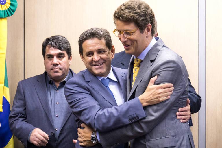 O novo ministro do Meio Ambiente, Ricardo Salles, assumiu o posto nesta quarta-feira (2/1) em Brasília, após cerimônia de transmissão de cargo com o antecessor, Edson Duarte