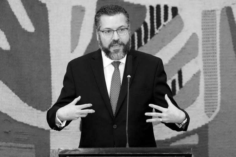O ministro das Relações Exteriores, Ernesto Araújo, durante solenidade de transmissão de cargo