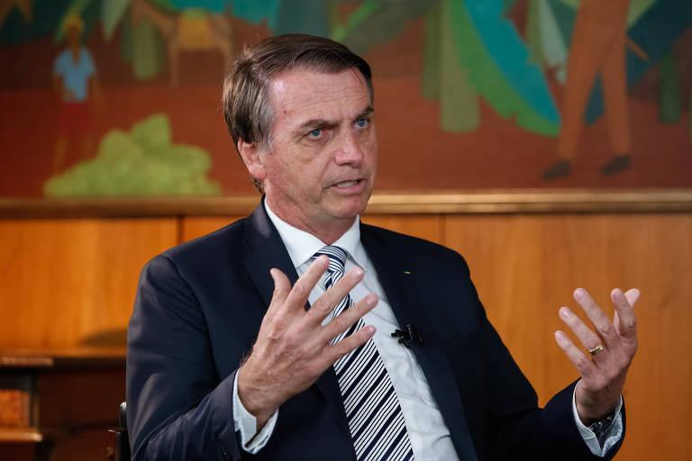O presidente Jair Bolsonaro durante entrevista para o jornal do SBT