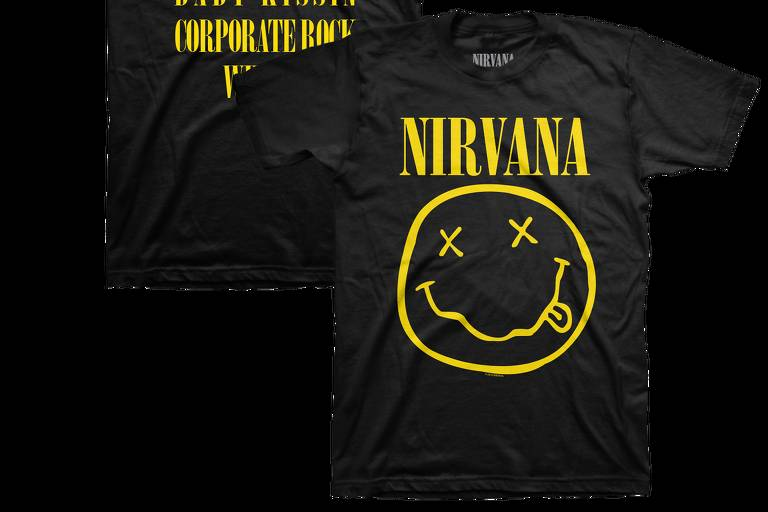 Reprodução de camiseta vendida no site oficial da banda Nirvana, com o clássico logo da carinha sorridente desenhado por Kurt Cobain em 1991; banda alega plágio do estilista Marc Jacobs