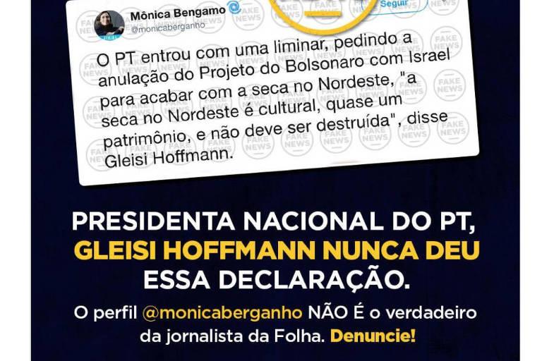 Post da senadora Gleisi Hoffmann que rebate informação falsa divulgada em perfil que imita o da jornalista Mônica Bergamo