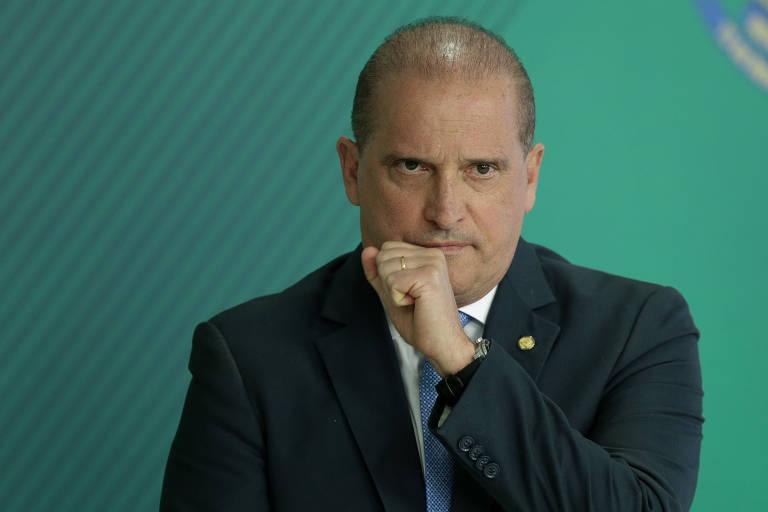 O ministro chefe da Casa Civil, Onyx Lorenzoni, durante coletiva de imprensa no Palácio do Planalto
