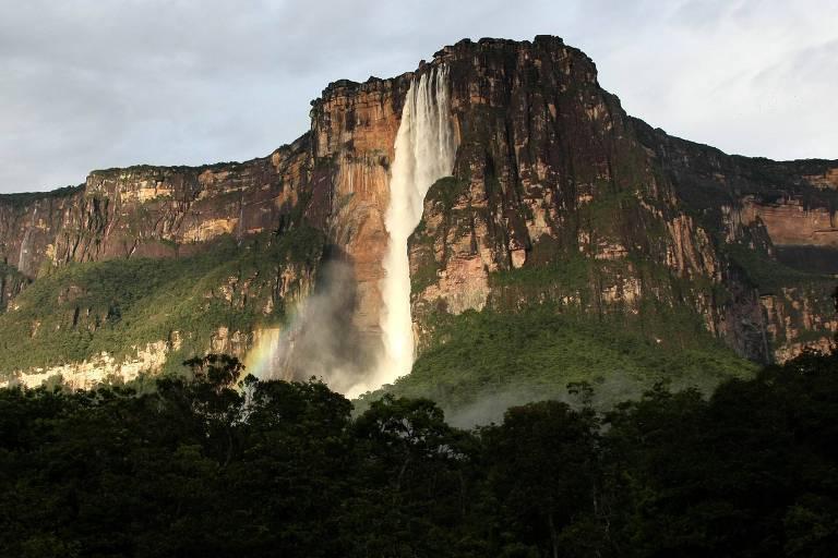 A cachoeira de Santo Ángel, a mais alta do mundo, no parque nacional de Canaima, no sudeste da Venezuela
