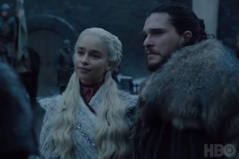 Emilia Clarke e Kit Harington em cena da 8ª temporada de 'Game of Thrones'