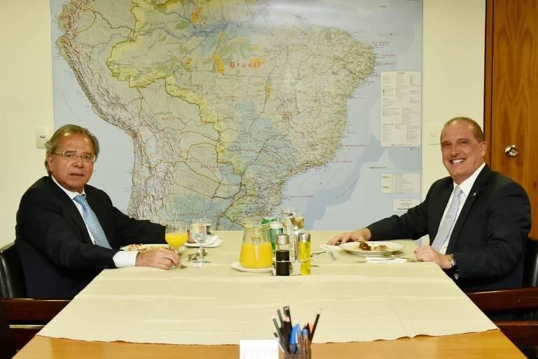 Almoço dos ministros Paulo Guedes e Onyx Lorenzoni no gabinete da Casa Civil